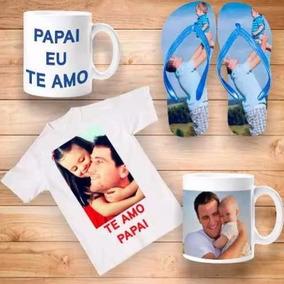 Kit Personalizado Dia Dos Pais Camiseta+caneca+chinelo
