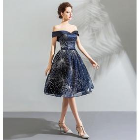 Vestido De Debutante Azul Curto 34 36 38 40 42 44 46 Va00326