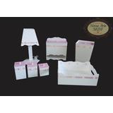 Kit Higiene Bebê Passa Fita 7pçs Mdf C/ Fiação (rosa) Menina