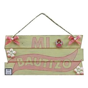 Letrero Mi Bautizo Vintage Con Petalos De Flor