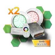 Kit Completo 2 Luces Rgb Para Piletas Piscinas 8x3 Plastica