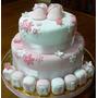 Torta Decorada 3k+piso Falso Baby Shower Nacim Bautismo 1año