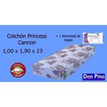 Colchón 1 Plaza 1/2 Princess Cannon 190 X 100 X 023 + Regalo