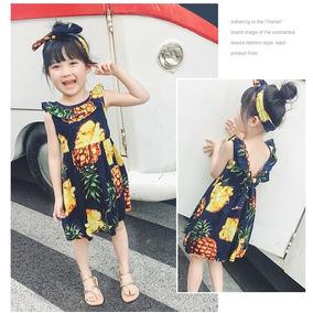 Vestido Piña Y Banda Para El Cabello Talla 2 A 7 Años