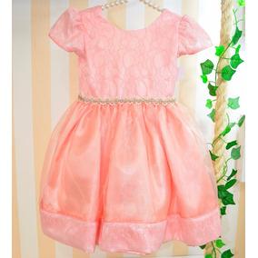 Vestido Infantil Rosa De Festa Organza E Renda
