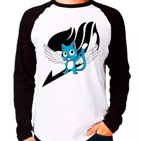 Camiseta Blusa Anime Fairy Tail Happy Raglan Manga Longa