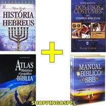 Kit História Hebreus + Usos E Costumes + Atlas + Manual Sbb