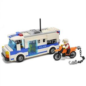 Lego Bloco De Montar Viatura Moto Polícia Boneco 204 Peças