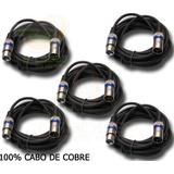 Kit 10 Cabos Microfone/dmx - Xlr/canon Balanceado 10 Metros