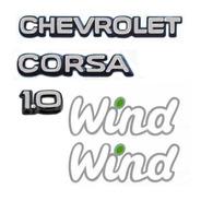Kit Emblemas Corsa 1.0 Chevrolet 2- Wind Adesivo + Brinde