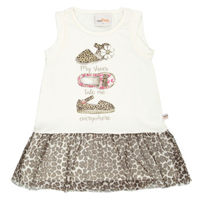 Vestido Infantil Em Cotton Oncinha Bege My Shoes Minifan 3d52936744e