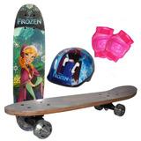 Skate Infantil Frozen Disney Com Capacete Joelheira E Bolsa