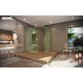 Kit Box Light Alumínio Canto1,50m Banheiro Cromado Sem Vidro
