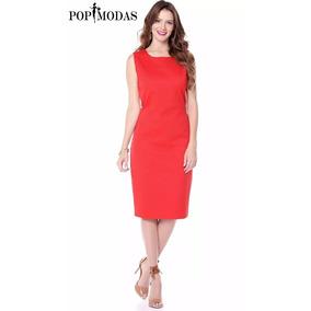 Vestido Tubinho Vermelho Social Moda Evangélica Executiva