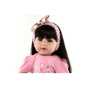 Bebe Reborn Menina Cabelo Longo Preto Realista Boneca 55 Cm