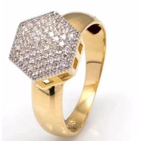 Anel Chuveiro Hexágono Grande Em Ouro18k E Diamantes Jk12