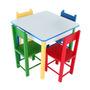 Mesa Infantil Colorida Com 4 Cadeiras De Madeira Mdf - Carlu