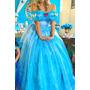 Vestido Fantasia Princesa Cinderela Novo Modelo Adulto