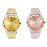 Reloj Swatch Suok703 Suok704 Dorado Rosa Glitter - Selfie
