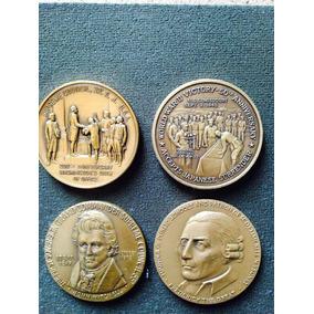 Medallas Antiguas De Usa En Bronce Trabajo Fino Buen Acabado