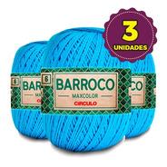 Barbante Barroco Maxcolor 400g N6 2194 Azul Turquesa Kit 3