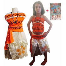 Disfraz Moana Con Collar Amuleto + Mega Plancha Stiker Mural