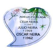 Placa Recordatoria Cementerio. Forma De Corazón  10x10cm