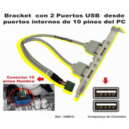 Zusb10 Bracket 2 Puertos Usb, 10 Pines Qusb10q Compu-toys