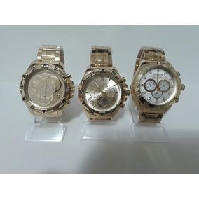 Kit Com 10 Relógios Masculino Dourado E Prata Atacado Lote