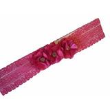 Faixa Tiara De Renda Para Bebê Flor De Cetim Rosa (pink)