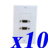 Caja 2 Puertos Vga X 10 Unidades Marco Rectangular De Pared