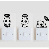 Vinilo Decorativo Llave De Luz Enchufe Interruptor Oso Panda