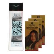 Kit 1 Shampoo 3 Loção Tônica Capilar - Combater Queda Cabelo