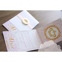 Convite Infantil Vintage Menina Coroa Dourada E Rosa Com Tag