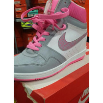Tenis Nike Cuñas Plataforma Tacón Corrido Gris Pink