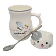 Mug Pocillo Taza Cerámica Gato Café Te Con Cuchara