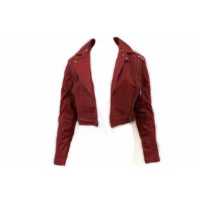 Jaqueta De Couro Legítimo Curta Feminina Vermelha X184