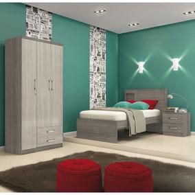 Dormitório Solteiro 3 Peças - Henn Açaí Bm027