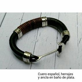 Pulsera De Cuero Español, Herrajes Y Ancla En Baño De Plata.