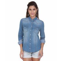 Camisa Blusa Jeans Feminina Manga Longa - Promoção Especial