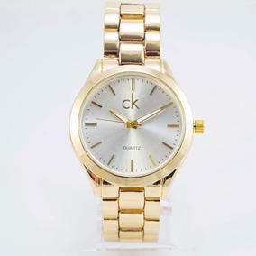 Relógio Feminino Ck Dourado Luxo Analógico Rose Preto +caixa