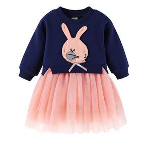 Niñas Largo Manga Conejo Applique Gasa Malla Vestido