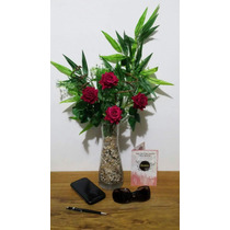 Arranjo D Rosas - Vaso Vidro Flores Artificiais Artificial
