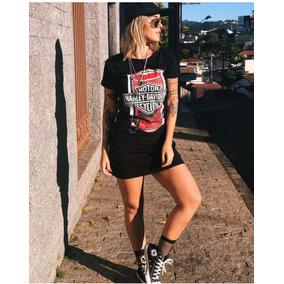 Vestido Básico Estilo Glam Rock Estampa Harley Preto
