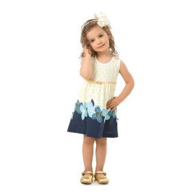 Vestido Infantil Primavera Verão Em Malha Com Cinto Dourad