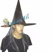 02 Chapéu De Bruxa C/ Cabelo Halloween Festa Fantasia Terror