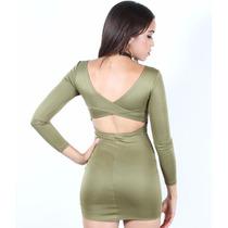 Sexy Vestido Verde Olivo Con Abertura Moda Fiesta Antro