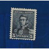 Filatelia Argentina, Gj#189 De $5 Serie Tres Próceres
