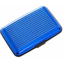 Cartera De Aluminio Plixio Azul Y La Caja De Tarjeta De