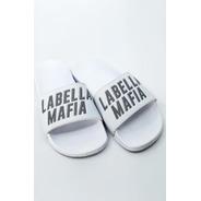 Chinelo Labellamafia Branco Refletivo Original